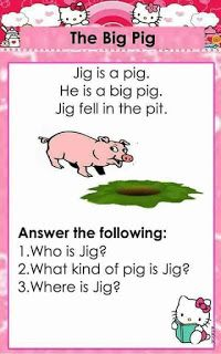 English reading passages with CVC and Dolch Sight words for beginning readers. It contains comprehension questions for comprehension check. 1st Grade Reading Worksheets, Grade 1 Reading, Kindergarten Reading Activities, Phonics Reading, Reading Comprehension Worksheets, Reading Passages, Kids Reading, Card Reading, Kindergarten Syllabus