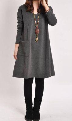 Casual Long Sleeve Pocket Dress