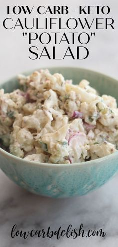 "Swap lightly roasted cauliflower for the potatoes makes the base for this delicious keto cauliflower ""potato"" salad. Swap lightly roasted cauliflower for the potatoes makes the base for this delicious keto cauliflower potato salad. Salad Recipes, Diet Recipes, Cooking Recipes, Healthy Recipes, Lunch Recipes, Cauliflower Potatoes, Keto Cauliflower, Cauliflower Low Carb Recipes, Roasted Cauliflower Salad"