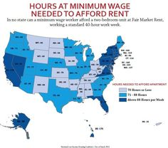 How many hours a week do you have to work at minimum wage to afford rent in your state?