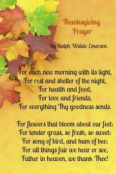 Thanksgiving Prayer Poem by Ralph Waldo Emerson