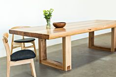 Using recycled stringybark timber from the Glenmaggie Bridge (located in Gippsland, Victoria) this dining table features a more rustic and natural design. Accompanied with either a simple metal leg or a dovetail join timber leg, this table will complement any setting.