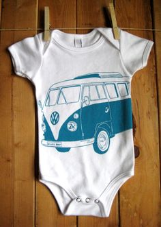 Items similar to Screen Printed American Apparel VW Bus Onesie (You Pick Size) on Etsy