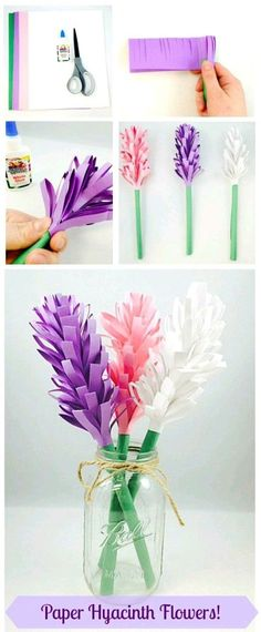 Easy Paper Hyacinth Flowers Three materials needed for this fun Spring craft project construction paper scissors and glue We recommend our Sunworks Groundwood Constructio. Kids Crafts, Easy Paper Crafts, Summer Crafts, Diy Paper, Diy And Crafts, Origami Paper, Paper Quilling, Tissue Paper, Crafts For Seniors