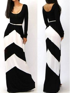 Women's Geometric Stripe Long Sleeve Round Collar Floor Length Maxi Dress #BuyTrends #Dresses #BuyTrends