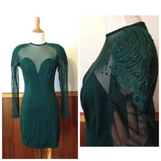 Vintage Tadashi hunter green dress Gorgeous late 80s early 90s vintage bodycon dress in hunter green. Features a sheer top and sleeves with detailed design! One of a kind dress! Size 6. Tadashi Dresses Mini