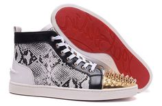 Christian Louboutin Lou Spikes Mens Flat Python High Top Sneakers Shoes Version…