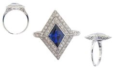 Sapphire, diamond and 18 karat white gold ring with 1 fancy cut sapphire weighing 1.50 carats and 52 round brilliant cut diamonds weighing 1.50 carats.