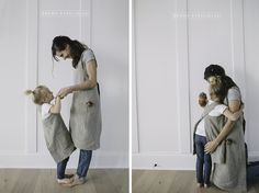 These cross back mommy and me matching aprons are so cute and fun. Picture tutorial and cutting directions