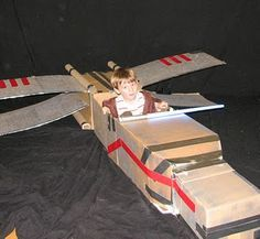 Cardboard X-wing fighter for a Jedi party.  #starwars