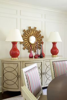 Meadow View - Tobi Fairley Interior Design #red #dining #sideboard
