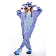 Kigurumi+Pajamas+New+Cosplay®+/+Stitch+/+Monster+Leotard/Onesie+Halloween+Animal+Sleepwear+Blue+Patchwork+Polar+Fleece+Kigurumi+Unisex+–+USD+$+22.49