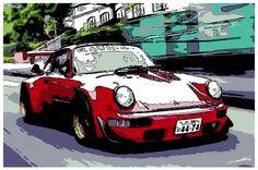 #Porsche #Rauh #Welt #rouge #tableau #Carrera