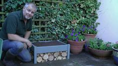 How to make a Bug House Wild Flower Planter for your patio. DIY a Raised flower bed, and an insect hotel underneath. #gardenproject #gardengoodies #insecthotel #bughouse #raisedgardenplanter by WIldlifeGadgetman.com  Has other projects on Youtube too https://youtu.be/Yzr9FXzjYgI #wildlifewatching #garden