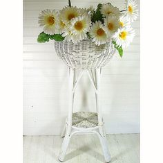 Vintage Large Round White Woven Wood & Wicker by DivineOrders, $35.00