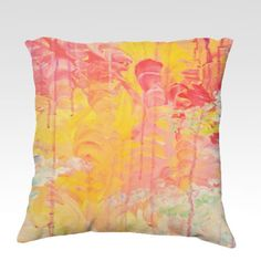SUN SHOWERS  Fine Art Velveteen Throw Pillow Cover, Decorative Toss Cushion, Modern Home Decor Cozy Soft Furnishings Bedroom Dorm Room Bedding Living Room Style, by EbiEmporium, $70.00