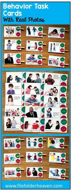 "These Behavior Task Cards (w/Real Photos) include 1 complete set of ""Go Behaviors/No Behaviors"" Task Cards with a total of Great for ESL students to visually see what they did wrong or right in a lesson. Preschool Behavior, Classroom Behavior, Autism Classroom, Special Education Classroom, Classroom Setup, Teaching Social Skills, Social Emotional Learning, Behaviour Management, Classroom Management"