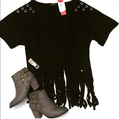 Black Fringe Sweater New in packaging black or gray pullover in mid-weight soft touch knit.  Off-shoulder neckline with bat wing sleeves and fringe detail to hem. Eyelet detailing. This pullover is so cute with some skinny jeans and booties or leggings!   60% Polyester 35% Rayon 5%  One size   price is firm Sweaters