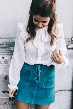 smooth shirt and Turquoise Suede skirt