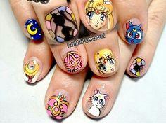 Sailor Moon nail art uploaded by ashley drop dead Kawaii Nail Art, 3d Nail Art, Nail Arts, Art 3d, Uñas Sailor Moon, Sailor Moon Nails, Luv Nails, Pretty Nails, Anime Nails