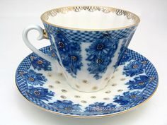 """""""Bridesmaid Basket"""" Tea Cup and Saucer from the Lomonosov Porcelain Factory available at The Russian Gift Shop in Lisle IL"""