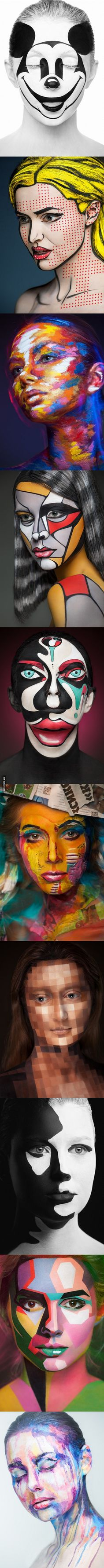 Amazing makeup transforms models into iconic works of art. Plenty of inspiration here for next Halloween ( can never start too early! Make Up Art, How To Make, Amazing Art, Amazing Makeup, Amazing Body, Awesome, Art Visage, Back Painting, Fx Makeup