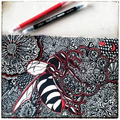 ★ zendoodle-wasp ★ With black and red marker from aldi ; Zen Doodle, Good Cause, Wasp, Zentangles, Drawing Art, Markers, Photo And Video, Drawings, Artwork
