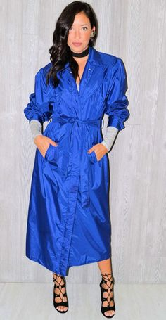 Blue Trench Coat Cobalt Blue Midi Jacket Rain Coat Vintage 80's Long Fall Hipster Peacoat Nylon Button Up Bohemian Collared Size 8 Medium