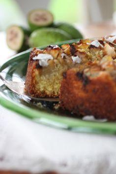 Feijoa, Coconut and Ginger Cake - Nourish Magazine Fejoa Recipes, Guava Recipes, Fruit Recipes, Sweet Recipes, Baking Recipes, Dessert Recipes, Recipies, Biscuits, Flourless Cake