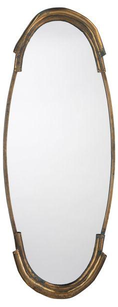 Margaux Wall Mirror, Antiqued Brass