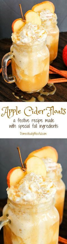 These Apple Cider Floats are made from special fall ingredients & are a perfect way to enjoy the flavors of fall as the weather begins to cool! Fall is filled w (Favorite Desserts Yum Yum) Apple Recipes, Fall Recipes, Holiday Recipes, Detox Recipes, Fall Drinks, Holiday Drinks, Party Drinks, Christmas Mocktails, Yummy Treats
