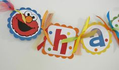 Elmo Sesame Street Birthday Banner with by PocketFullofGlitter, $33.00