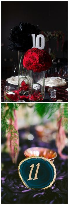 75 Ways to Display Your Wedding Table Numbers /  http://www.himisspuff.com/wedding-table-numbers-centerpieces/