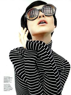 Marie Claire magazine featured the #AmericanApparel Stripe Turtleneck Top, Brazil, April 2013. #MarieClaire #magazine #stripes