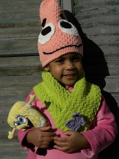 Crocheted by Mikadalia Ravelry: Silly Hat and Scarf Set, Inspired by Patrick Star SpongeBob Squarepants pattern by Darleen Hopkins #CbyDH