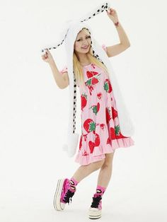 Strawberry Pattern Puff Sleeve One-Piece / See more at http://www.cdjapan.co.jp/apparel/new_arrival.html?brand=SLV #harajuku