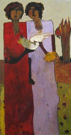 Goli Mahallati: Birds of Joy (60x30 oil on canvas)