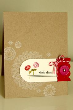 Simple card with kraft background and doily stamps...cute!