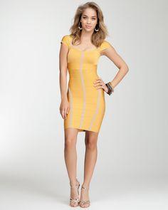 bebe | Colorblock Cutout Bandage Dress - WEB EXCLUSIVE