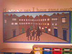 Oliver Twist Victorian Display. Class Displays, School Displays, Library Displays, Classroom Displays, Victorian Street, Victorian Art, Victorian Christmas, Ks2 Display, Display Ideas