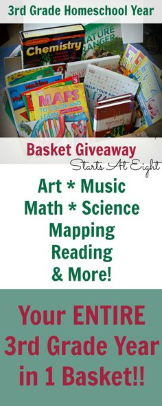 GIVEAWAY! 3rd Grade Homeschool Year in a Basket Giveaway from Starts At Eight