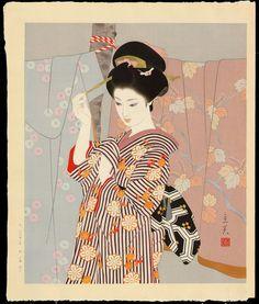 makes me want to draw more japanese kimono prints by Tatsumi, Shimura (1907-1980) - Short Sleeve Kimono - 小袖幕