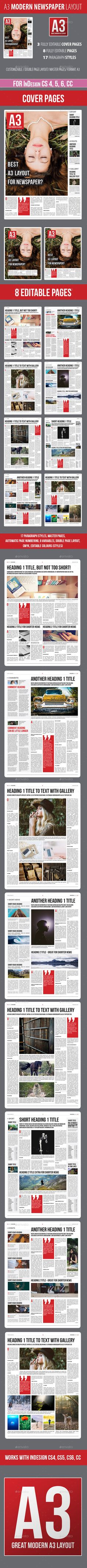 A3 - Modern Newspaper Layout for InDesign by LeszQ Watch live demo https://issuu.com/indesign_newspaper_layout/docs/a3_-_modern_newspaper_layout_for_inAbout Layout includes 11 pages