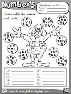 Numbers - Worksheet 4 (B&W version)