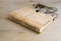 A5 B5 Off White Leather Journal Wrap Around Beige Notebook