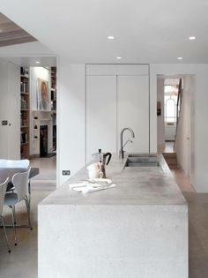 I loved loved loved our concrete countertops in the big house. Next house we have I'll get them again! Concrete kitchen island in modern addition to London townhouse gray and white palette Classic Kitchen, Stylish Kitchen, Kitchen White, Küchen Design, House Design, Design Ideas, Design Inspiration, Interior Architecture, Interior Design