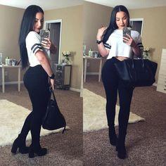 "Amanda Ensing on Instagram: ""Black is my favorite color ❣ Top & Boots: @forever21 Pants: @7fam #OOTD"""