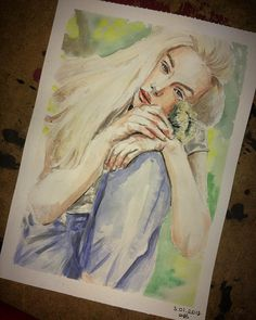 "13 Likes, 2 Comments - a s l ı  (@nefelibatart) on Instagram: ""#watercolor #portrait #woman #blonde #art #artwork #artoftheday #painting #drawing…"""