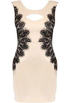 Lace Embrace Dress | Beige Bodycon Dresses | Rickety Rack