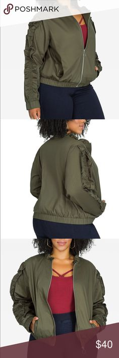 """Ruffle Sleeve Bomber Jacket Olive green bomber jacket in size 18/20 by Ashley Stewart. Ruffles at sleeves and neck. Zip front. Elastic bands at waist and sleeves. Vertical slash front pockets. Measures 25.5"""" in length. 97% cotton 3% spandex. NWT. Ashley Stewart Jackets & Coats"""